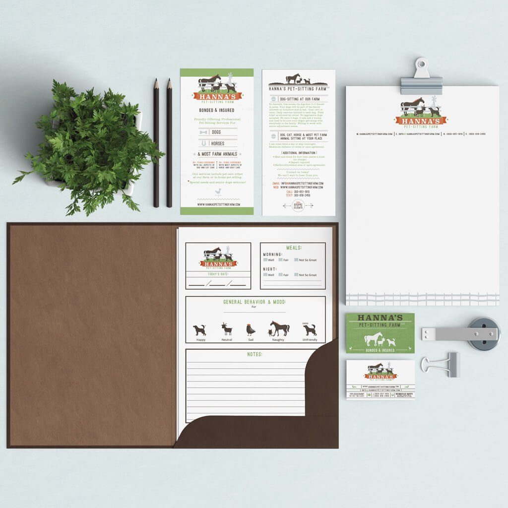 Full Pet Business Branding Design for Hannah's Pet Sitting Farm