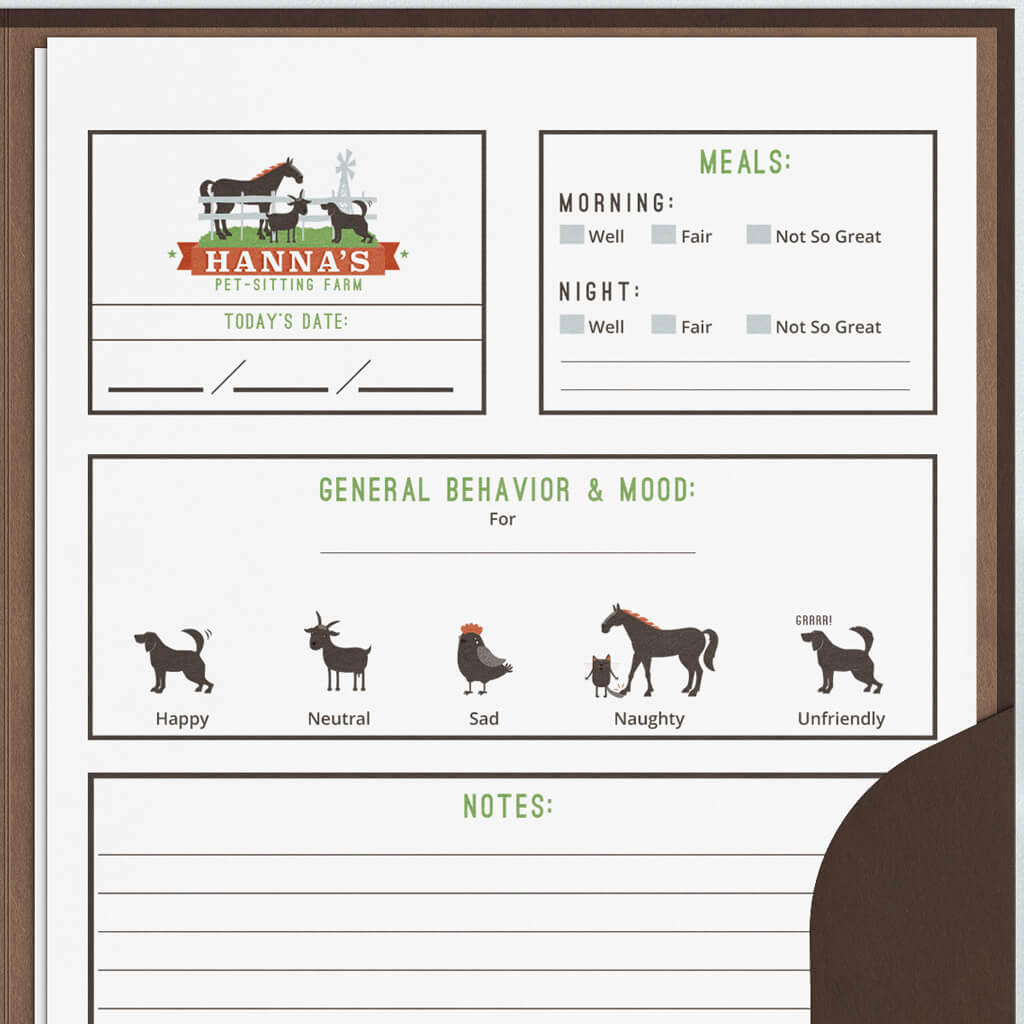 Up close view of custom pet report card design for Hannah's Pet Sitting Farm
