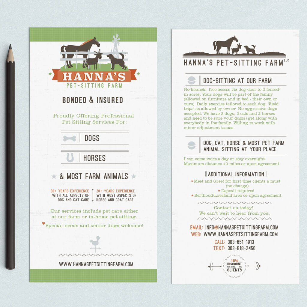 Up close view of 4x9 Rack Card Design for Hannah's Pet Sitting Farm