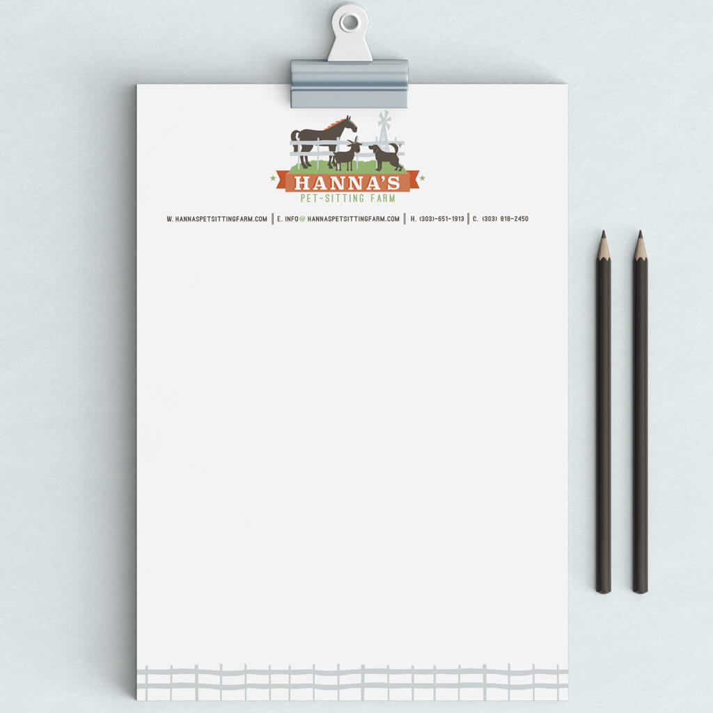 Up close view of letterhead design for Hannah's Pet Sitting Farm