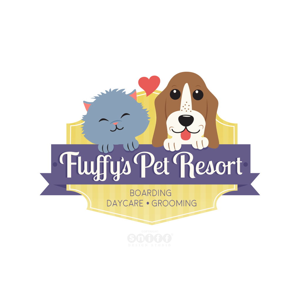 Fluffys Pet Resort - Pet Business Logo Design by Sniff Design Studio