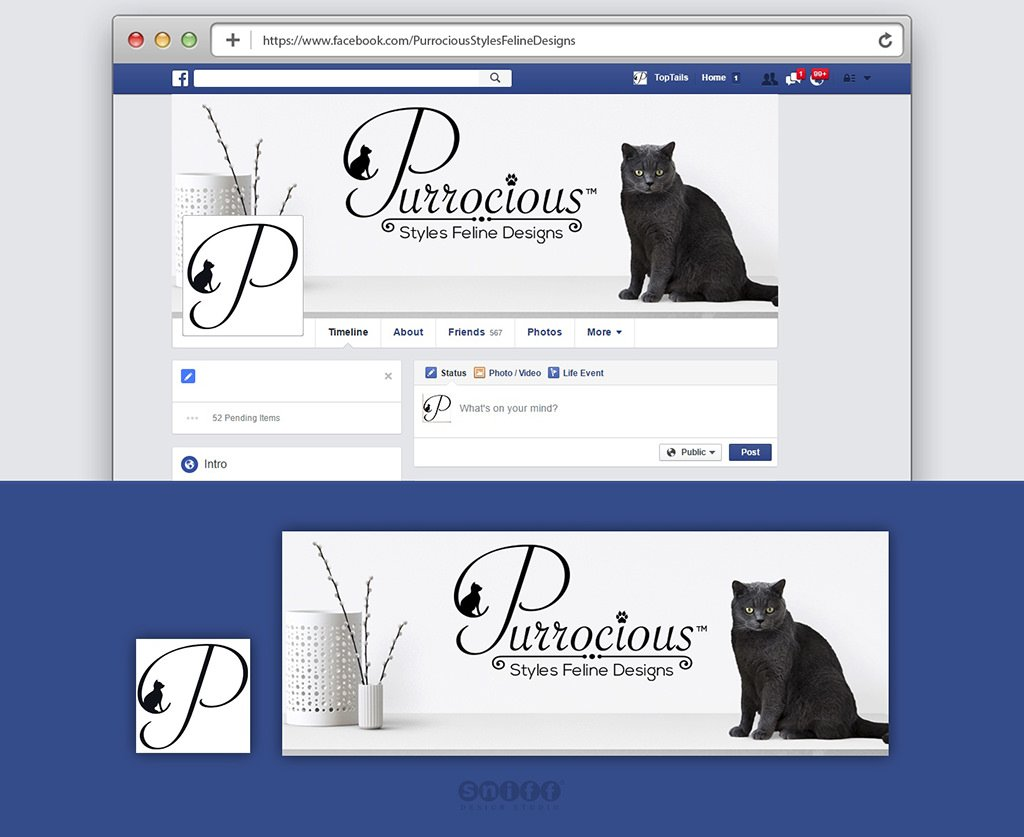 Purrocious Styles Feline Design custom Facebook Cover Page Design by Sniff Design Studio
