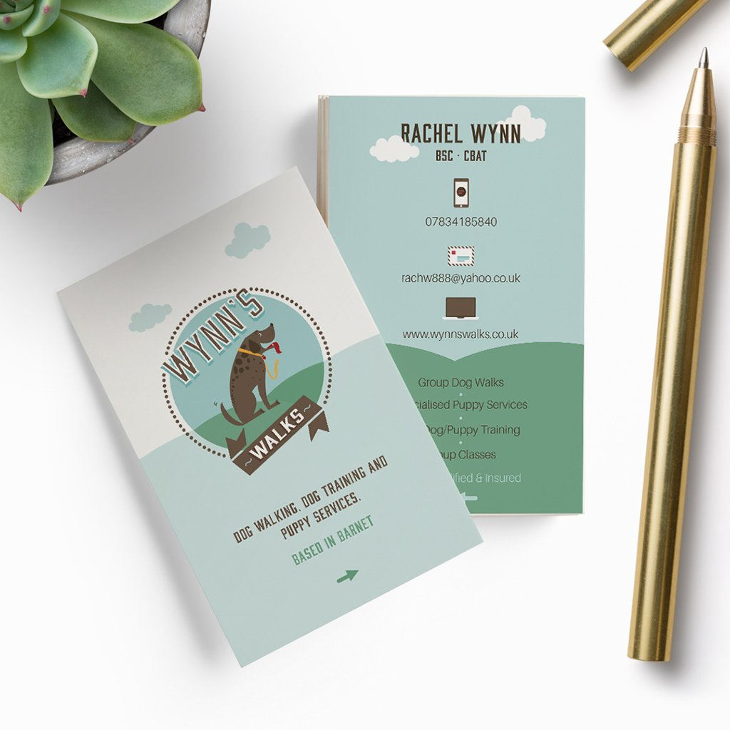 Pet business card design for Wynn's Walks by Sniff Design Studio