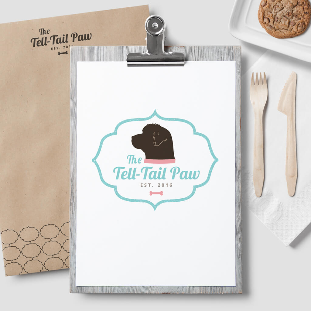 The Tell Tail Paw Dog Bakery Pet Business Logo Design