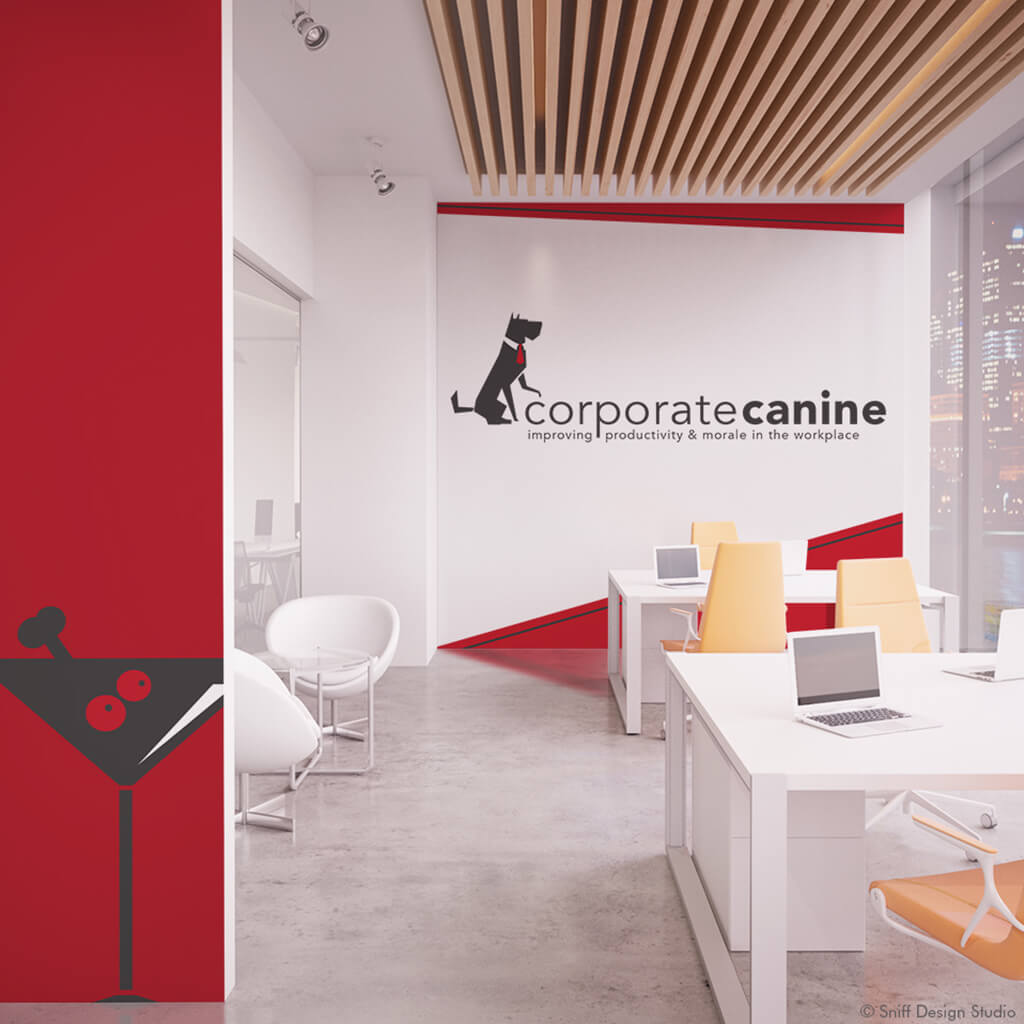 The Corporate Canine Pet Business Logo Design Shown in Office Mockup