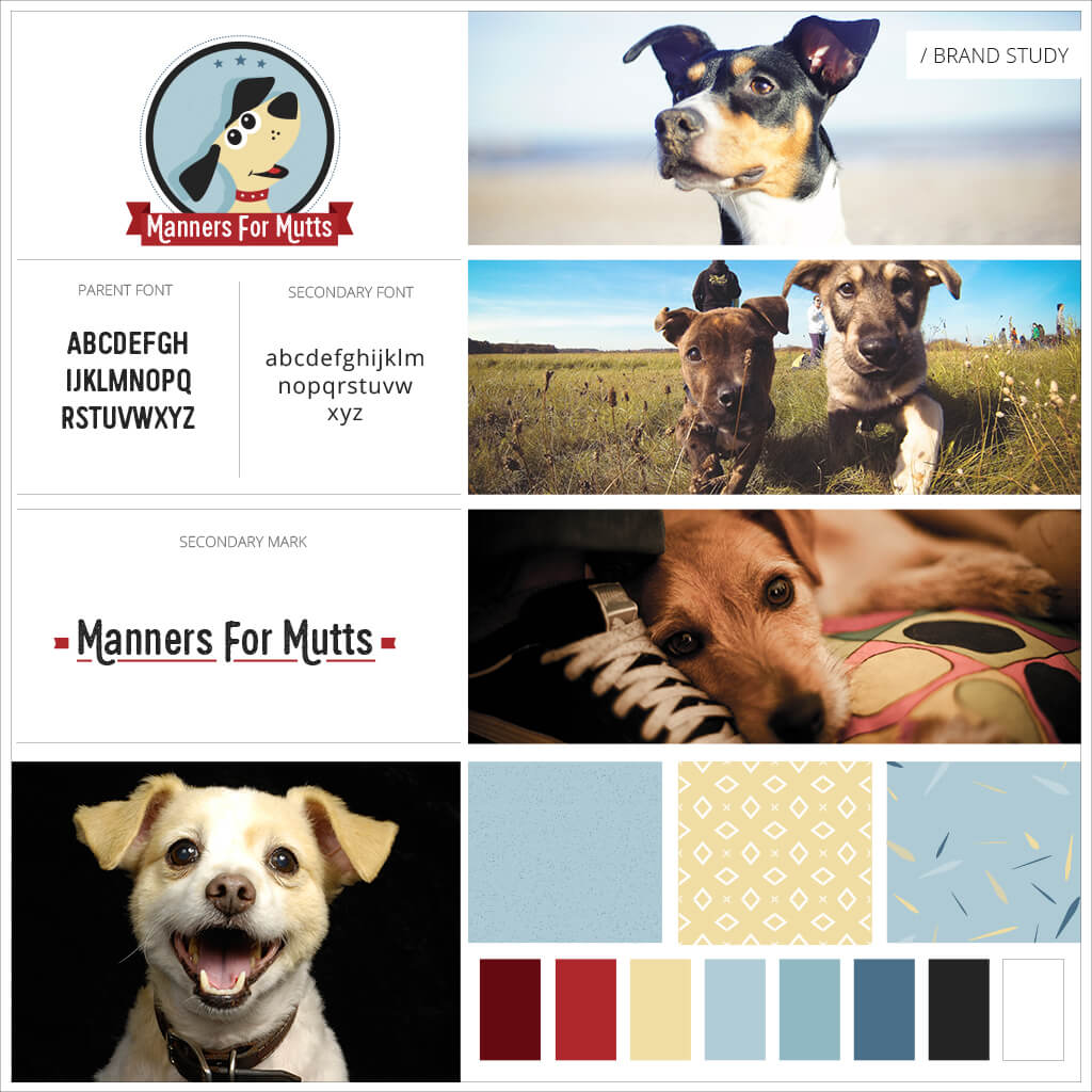 Manners For Mutts Dog Training Pet Business Brand Study / Mood Board by Sniff Design Studio