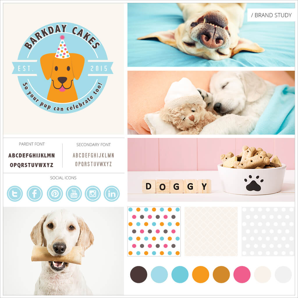 Barkday Cakes Pet Business Brand Study Mood Board by Sniff Design Studio