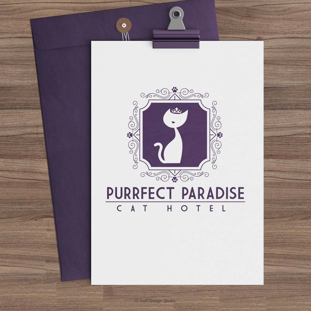 Purrfect Paradise Cat Hotel Pet Business Logo Design Showcase