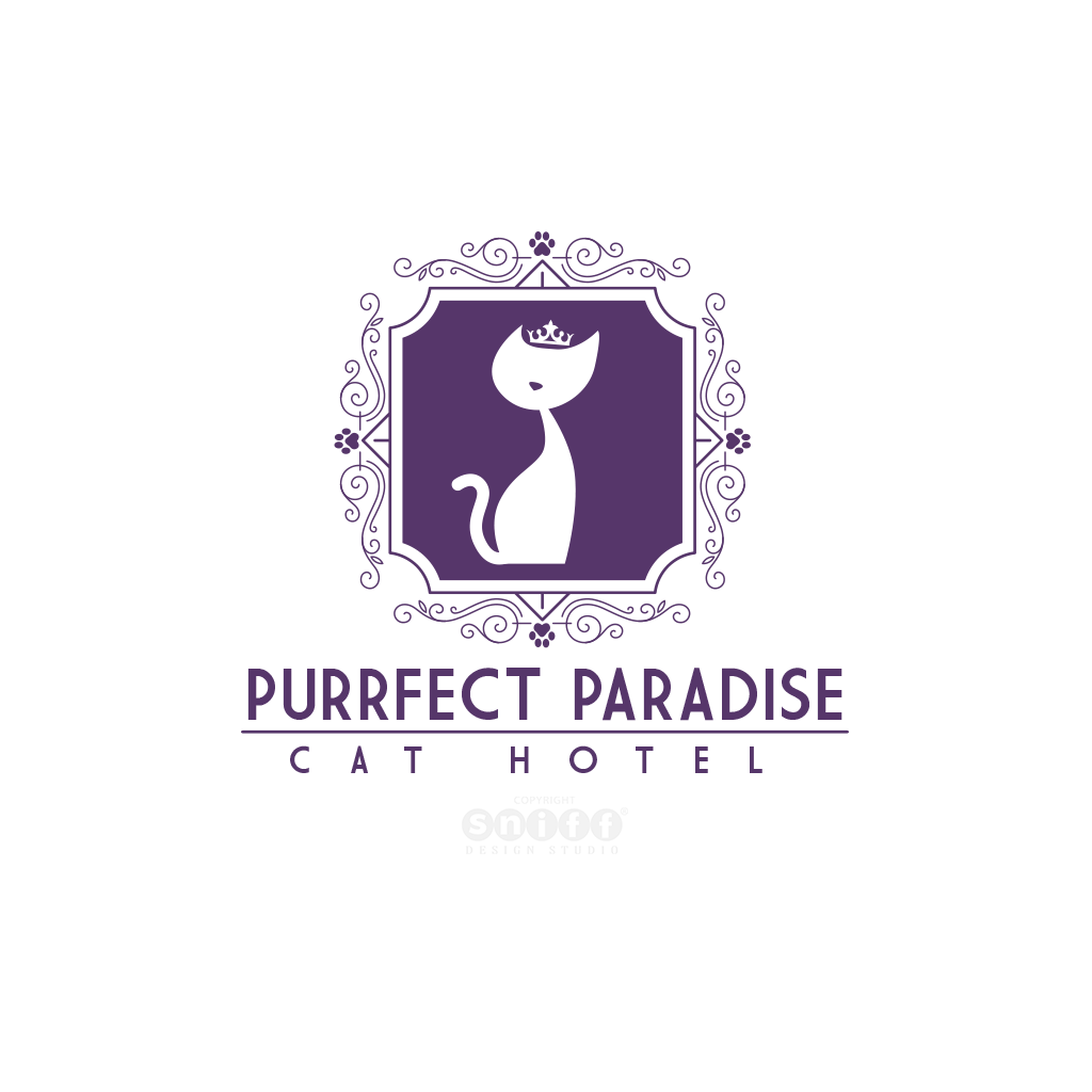 Purrfect Paradise Cat Hotel Logo Design