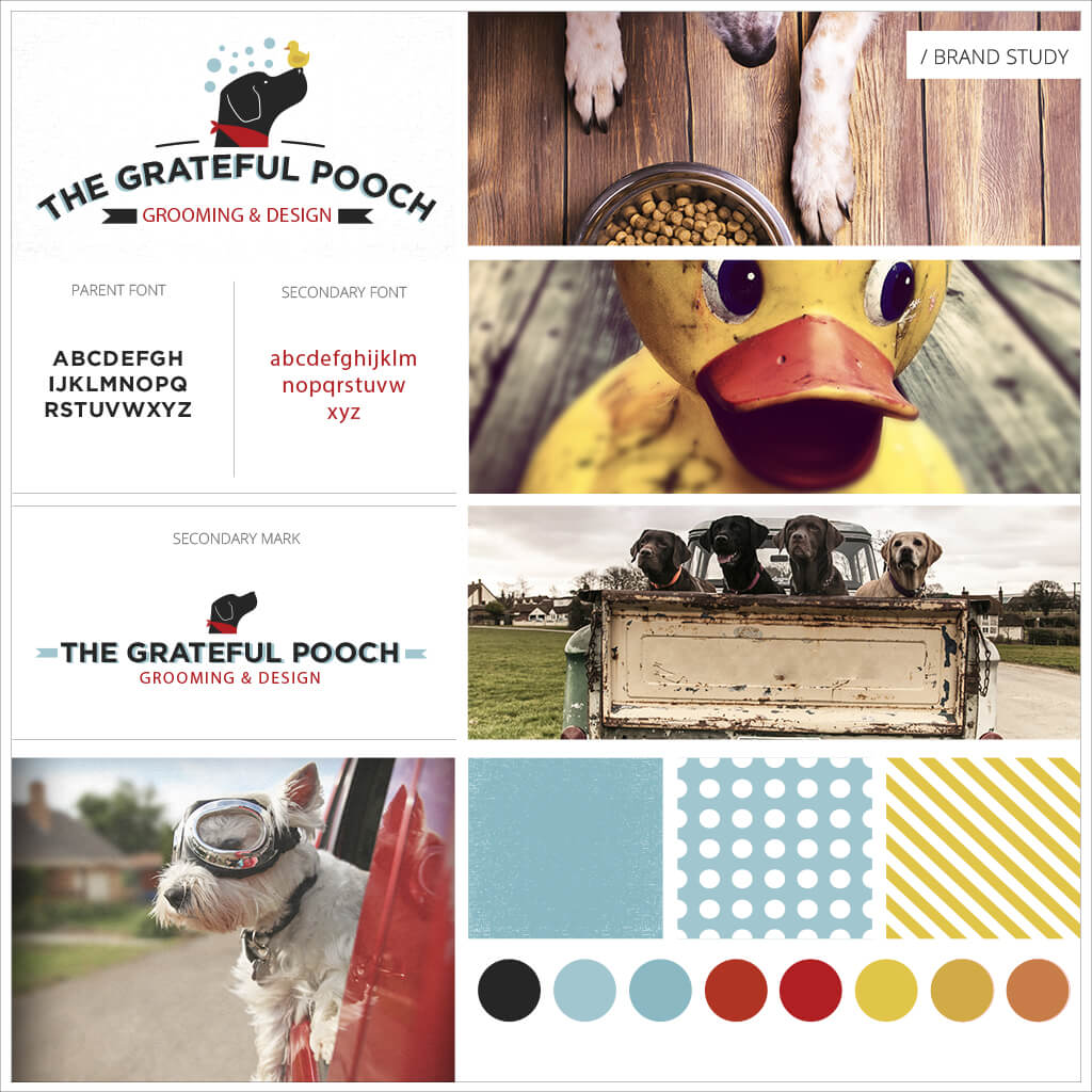 The Grateful Pooch Grooming Pet Business Brand Study by Sniff Design Studio