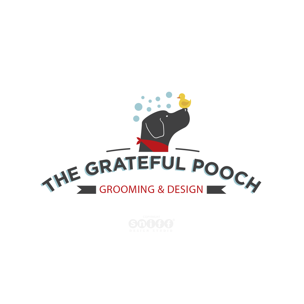 The Grateful Pooch Grooming Pet Logo Design by Sniff Design Studio