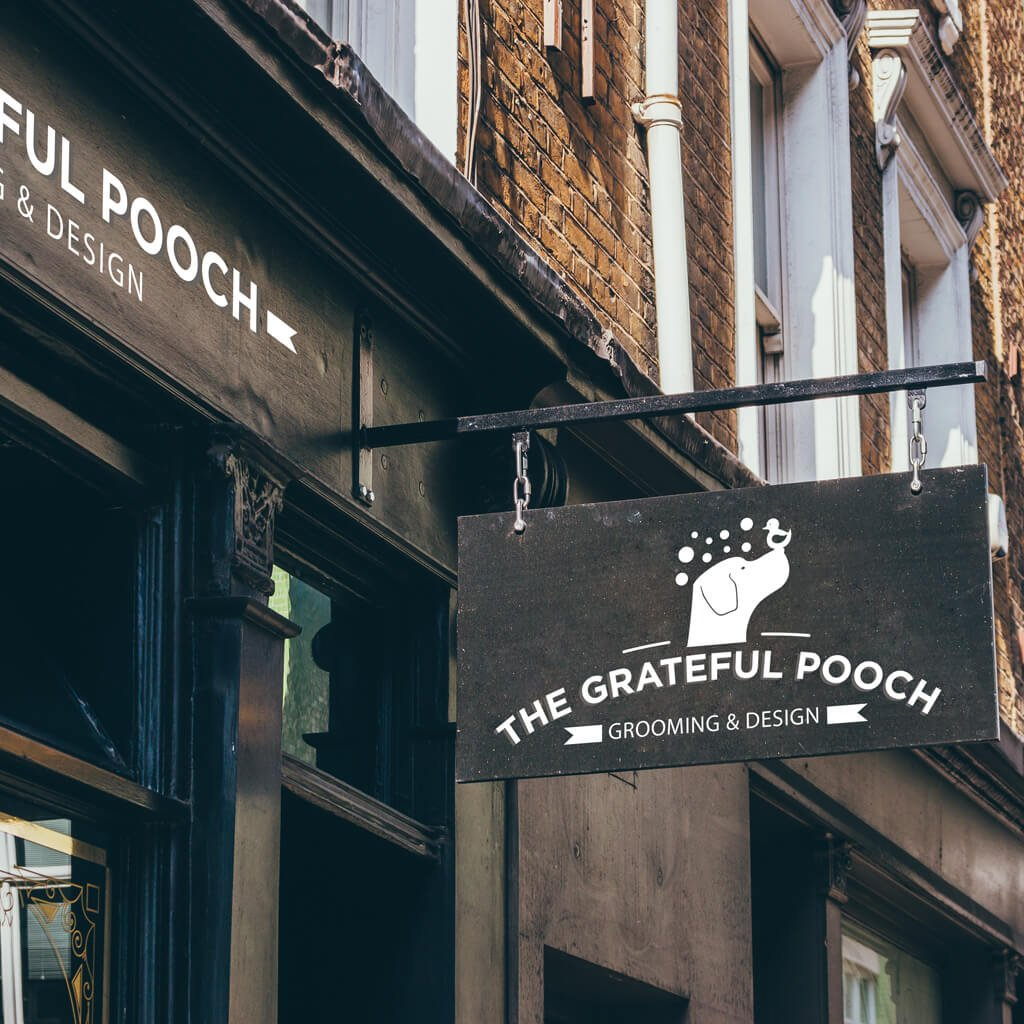 The Grateful Pooch Grooming Pet Logo Design Store Signage Mockup by Sniff Design Studio