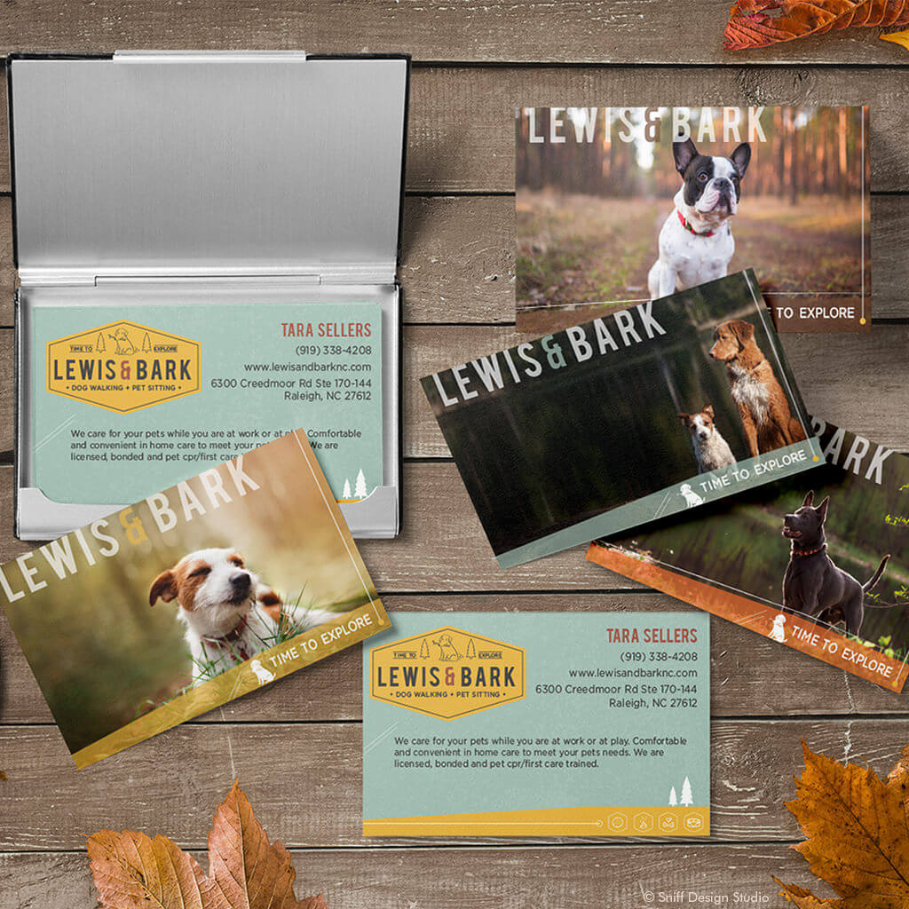 Lewis & Bark Dog Walking Pet Business Card Design