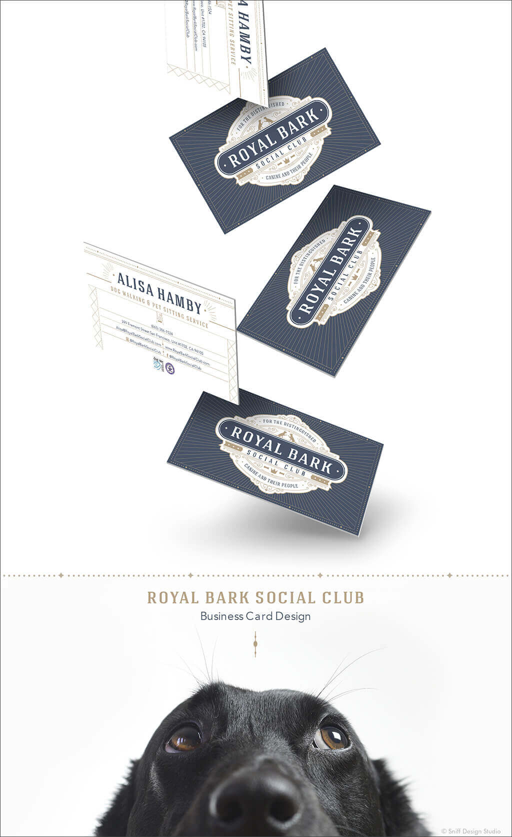 Pet Business Card Design for Royal Bark Social Club by Sniff Design Studio