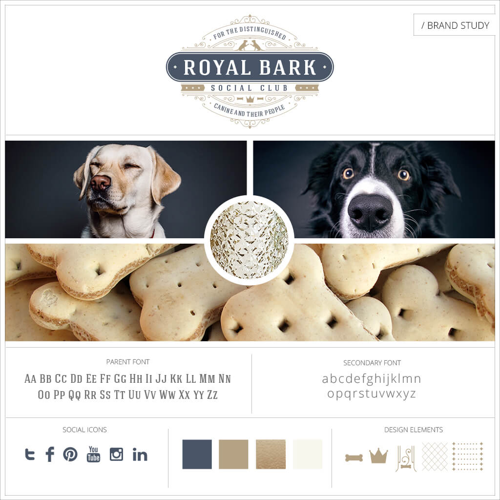Royal Bark Social Club Dog Walking and Services Pet Business Brand Study by Sniff Design Studio