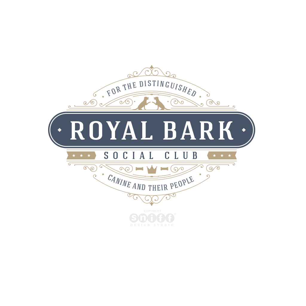 Royal Bark Social Club Pet Business Logo Design by Sniff Design Studio