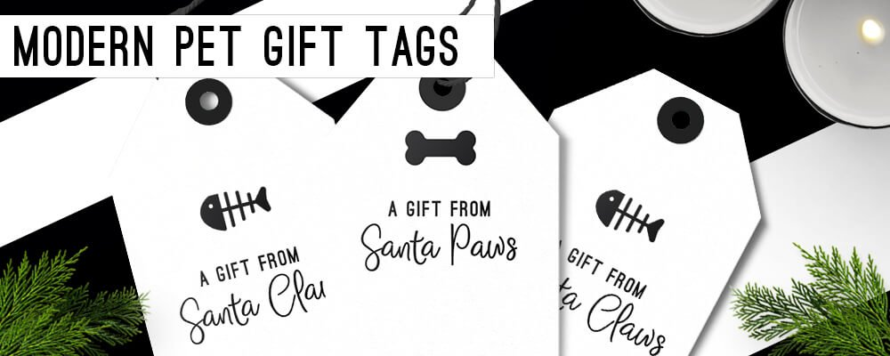 Free Modern Black and White Pet Gift Tags