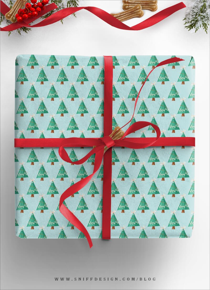 DIY-Dog-Gift-Wrap-Trees-Themed