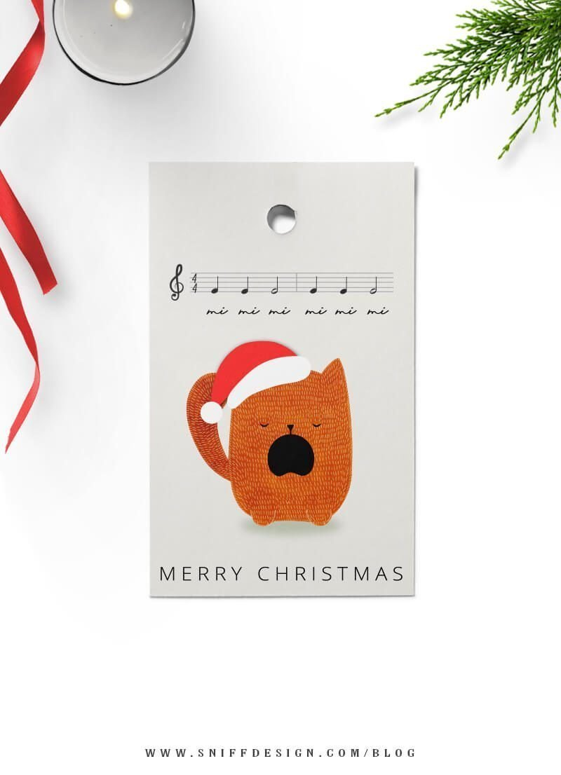 Feline Orange Kitty Christmas tags free download by Sniff Design Studio