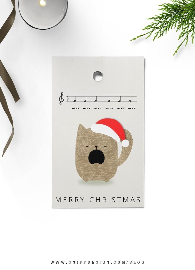 Feline Brown Kitty Christmas tags free download by Sniff Design Studio