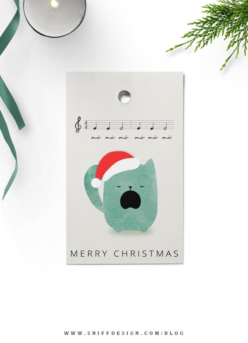 Feline Blue Kitty Christmas tags free download by Sniff Design Studio