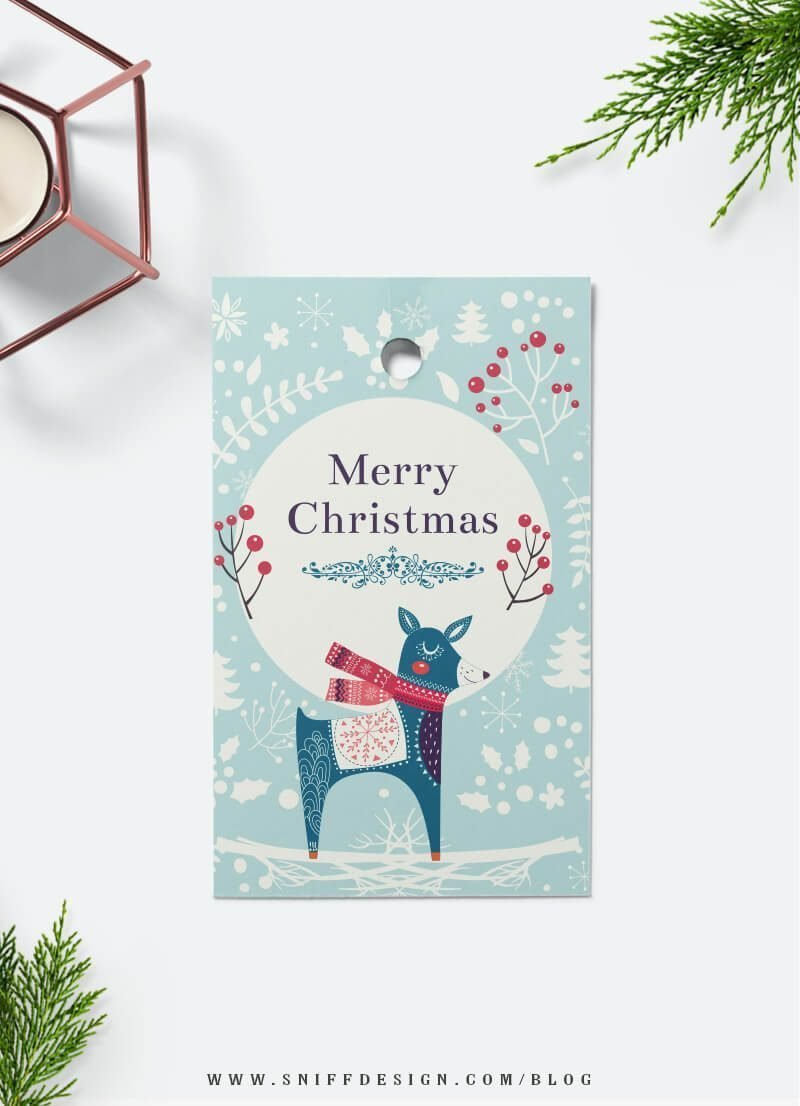 Free Christmas gift tag download from Sniff Design Studio 2