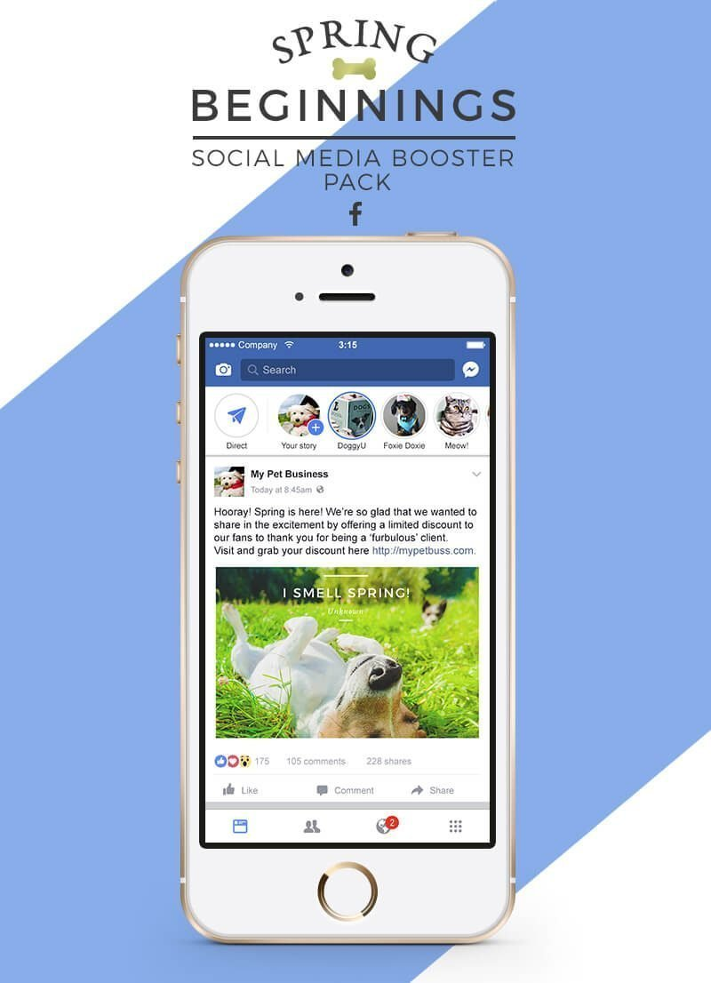 Spring Social Media Booster Pack For Pet Businesses - Product Image 2 - by Sniff Design Studio