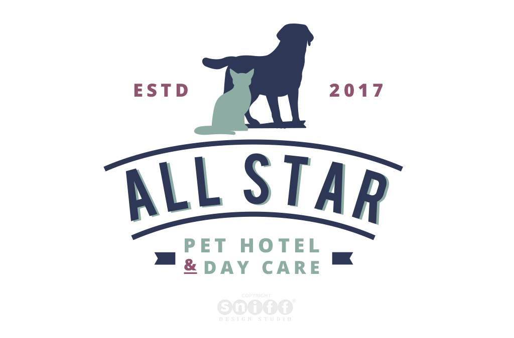 Pet Business Logo and Pet Branding for All Star Pet Hotel & Day Care