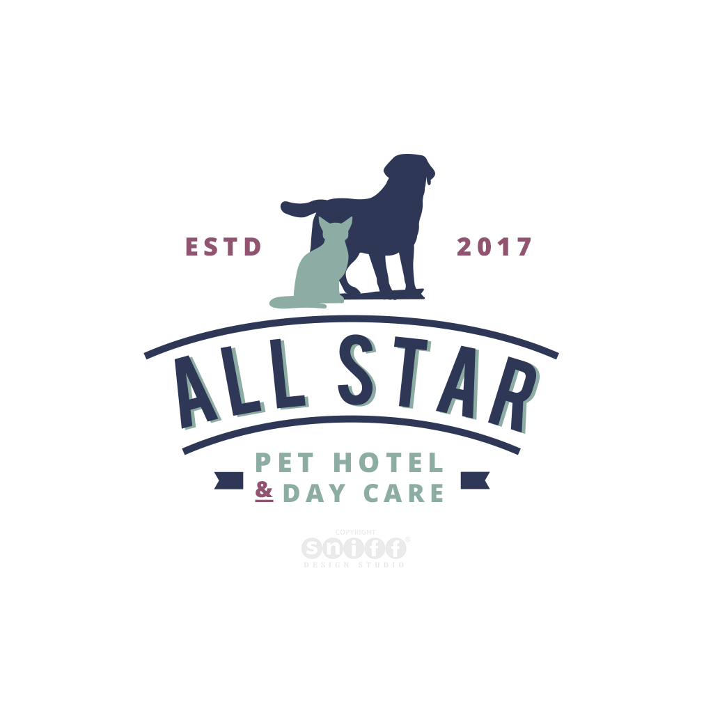 All star pet hotel and day care logo design by Sniff Design Studio