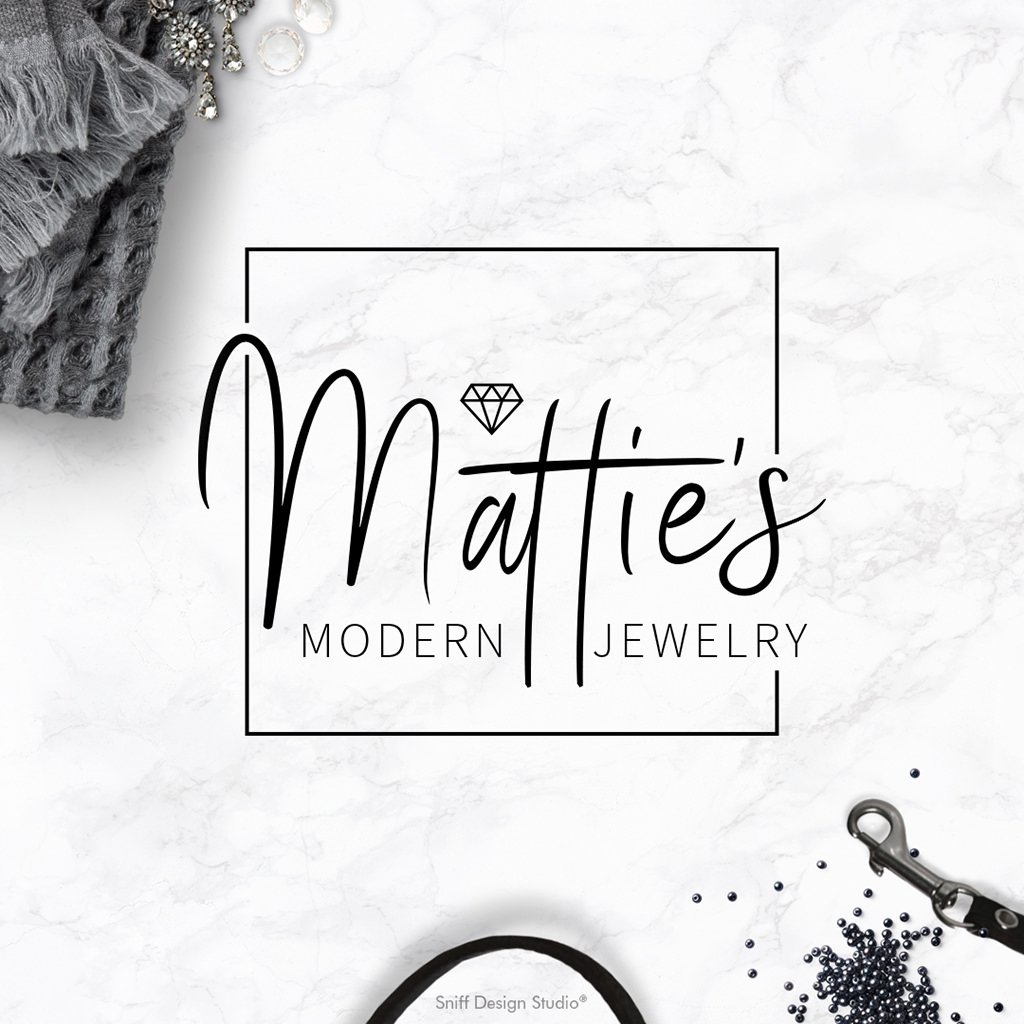 Matties Modern Jewelry sub-mark logo design and branding showcase by Sniff Design Studio