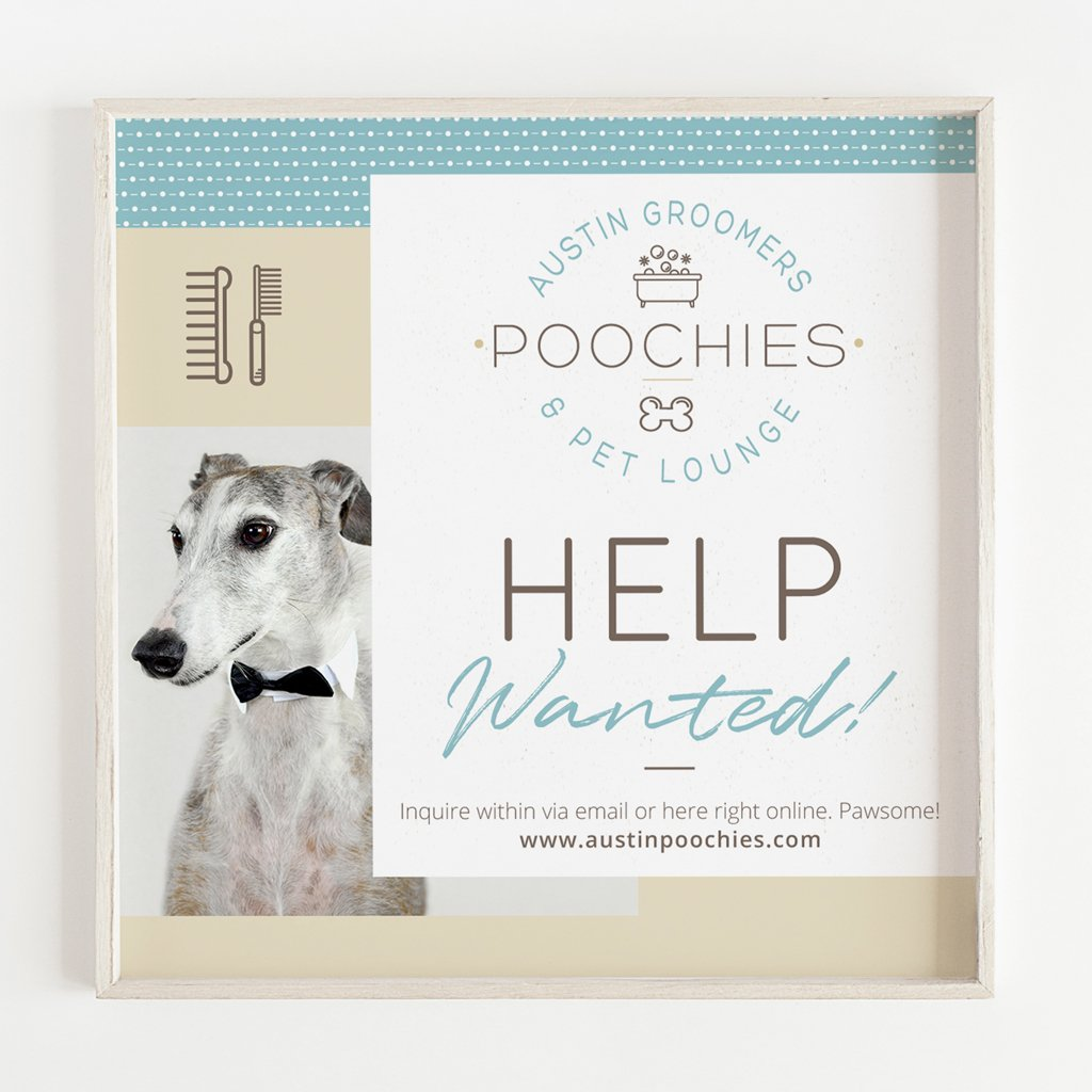 Austin Poochies Groomers and Pet Lounge custom social media design for Instagram and Facebook by Sniff Design Studio
