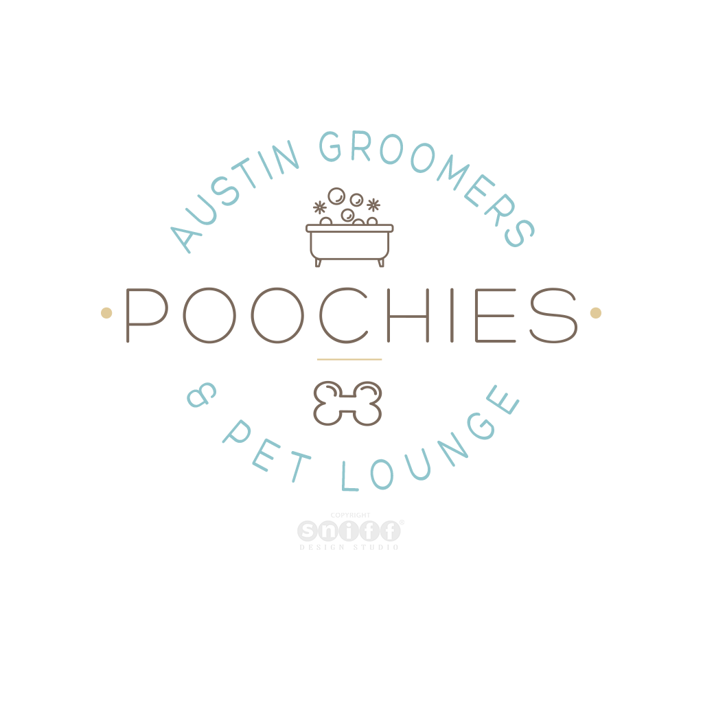 Poochies Austin Groomers and Pet Lounge logo design by Sniff Design Studio