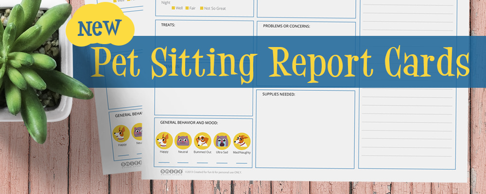 New pet sitting report cards for sale by Sniff Design Studio