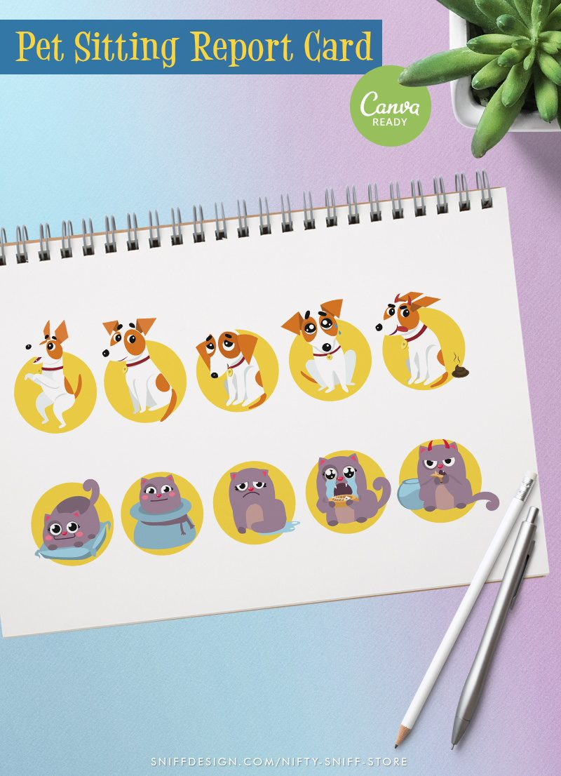 Pre-designed ready to edit pet sitting report card pack close up view by Sniff Design Studio
