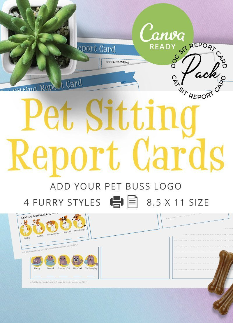 Pre-designed ready to edit pet sitting report card pack by Sniff Design Studio