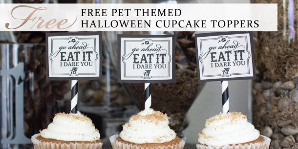 Free pet themed Halloween cupcake toppers download by Sniff Design Studio