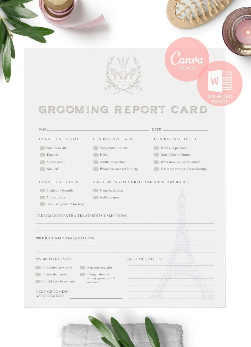 Ready to edit French themed pet grooming report card set by Sniff Design Studio