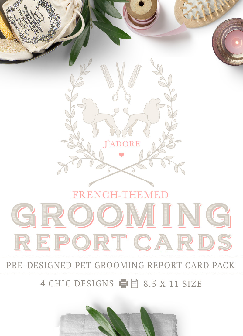 French Theme Pet Grooming Report Card Pack by Sniff Design Studio