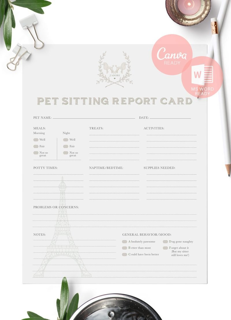 French-themed-pet-sitting-report-cards-for-download-by-Sniff-Design-Studio-Green1B