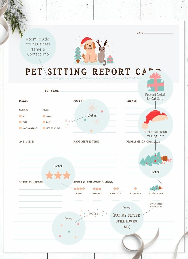 Merry Christmas dog and cat pet sitter report cards by Sniff Design Studio