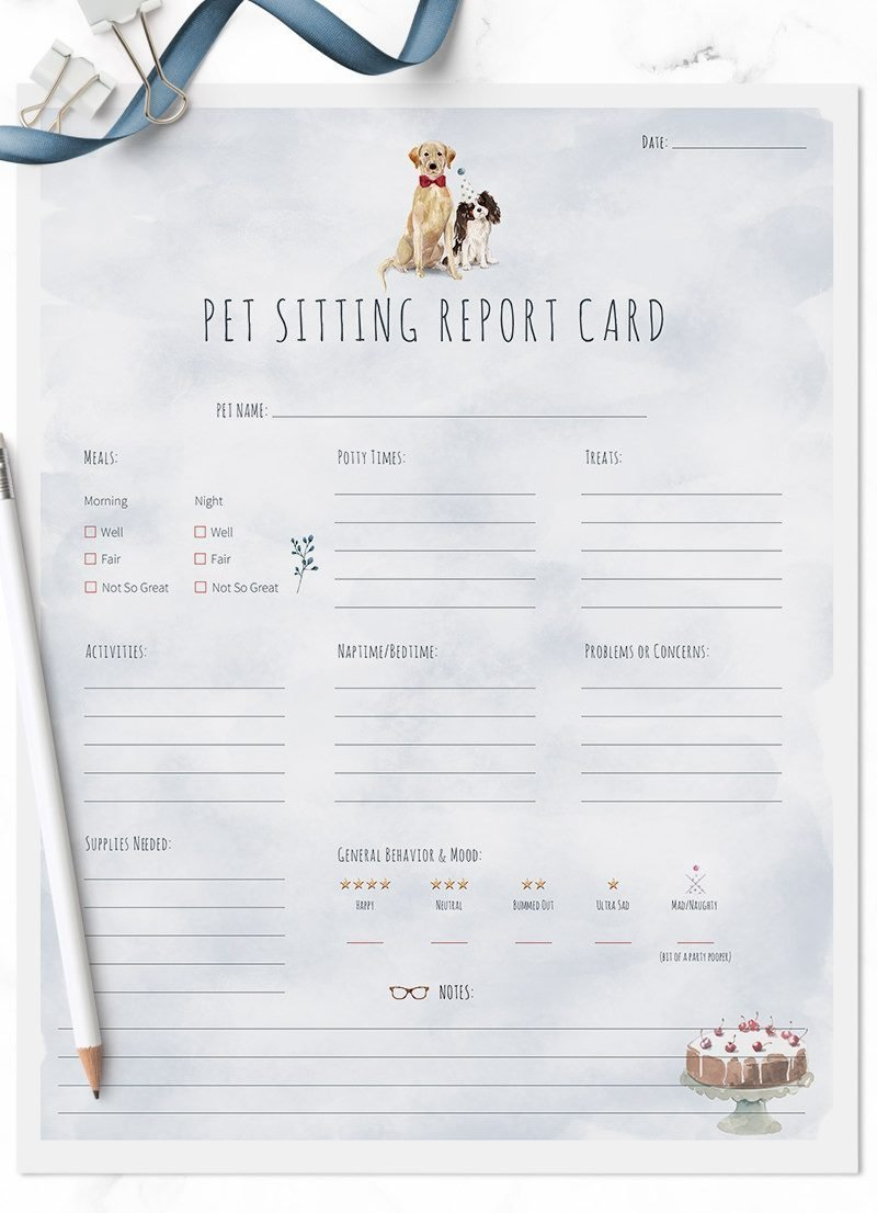 Yellow Labrador and King Charles Dog New Year pet sitting report cards for sale by Sniff Design Studio