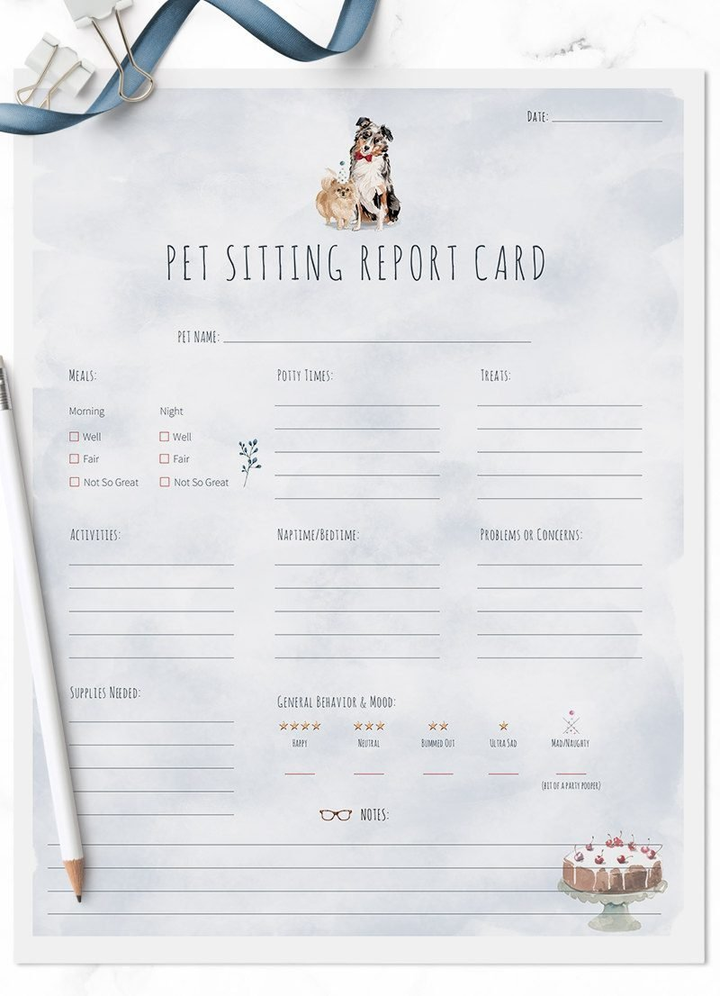 Pomeranian and Australian Shepard Dog New Year pet sitting report cards for sale by Sniff Design Studio