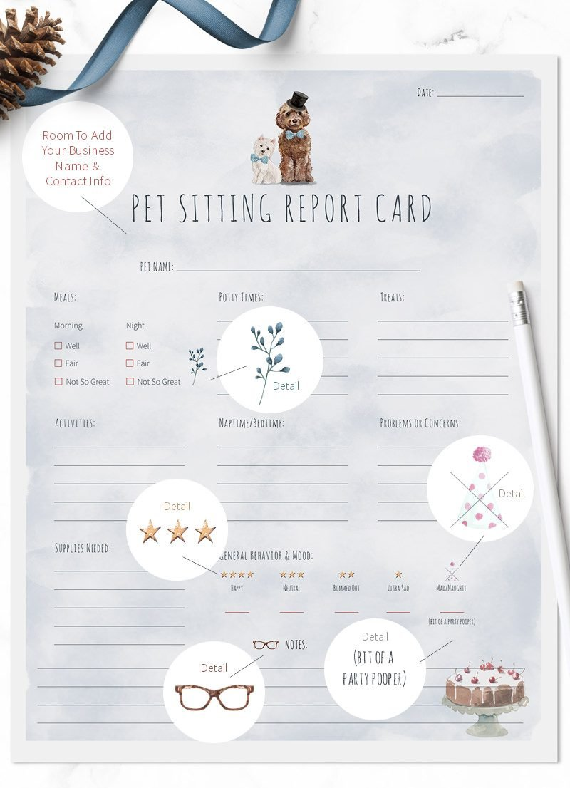 New Year pet sitting report cards for sale by Sniff Design Studio