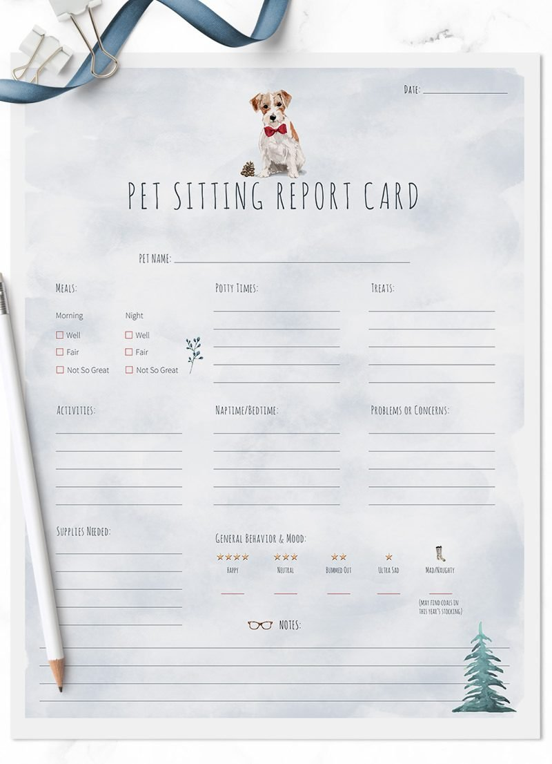 Italian Greyhound Christmas Themed Pet Sitting Report Cards by Sniff Design Studio - All Rights Reserved
