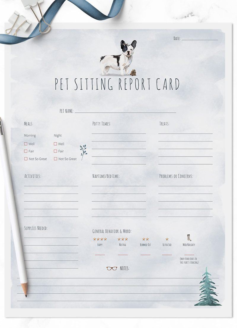French Bulldog Christmas Themed Pet Sitting Report Cards by Sniff Design Studio - All Rights Reserved