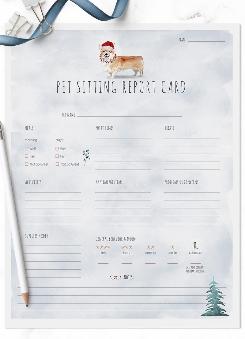 Corgi Christmas Themed Pet Sitting Report Cards by Sniff Design Studio - All Rights Reserved