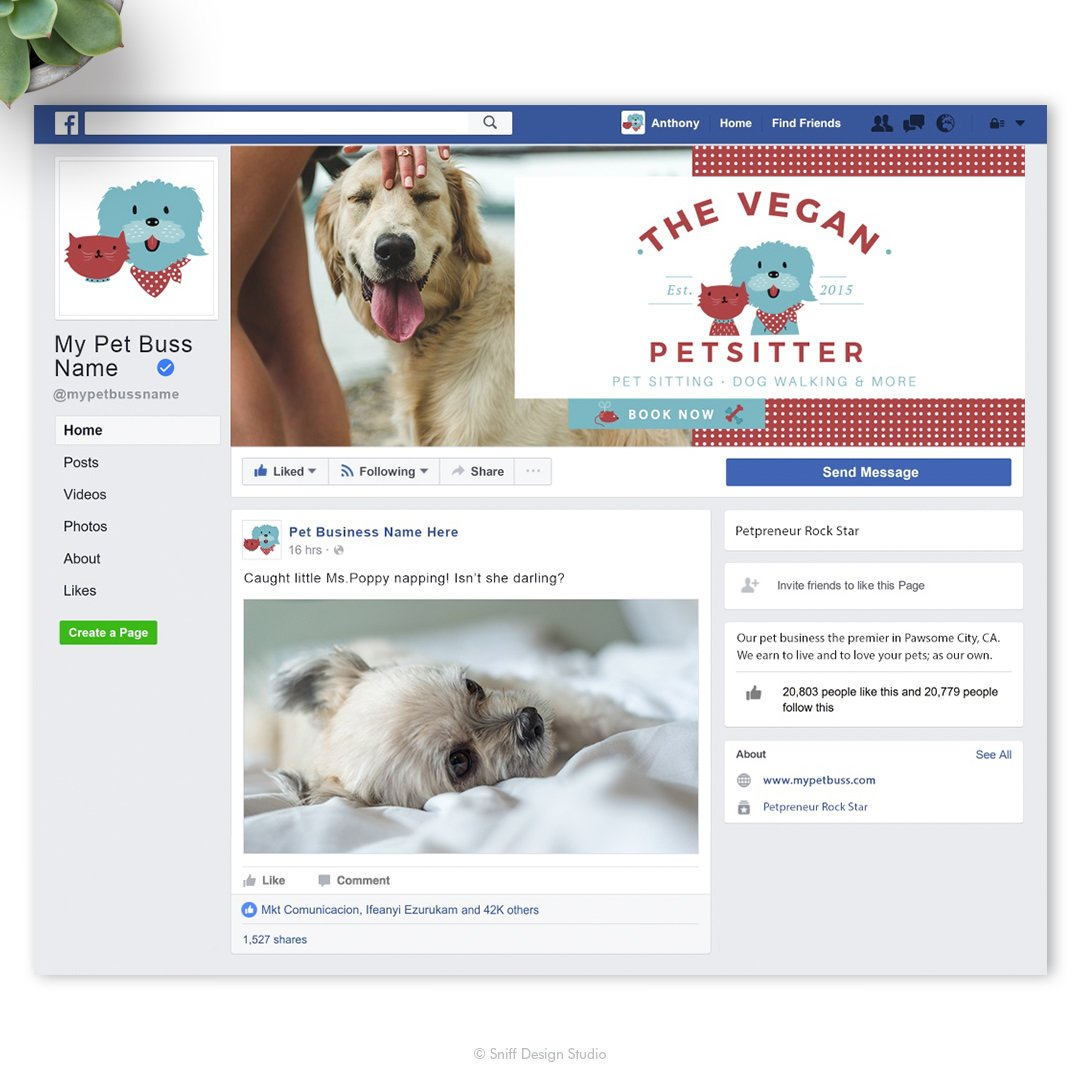 The Vegan Pet Sitter pet business Facebook cover design by Sniff Design Studio