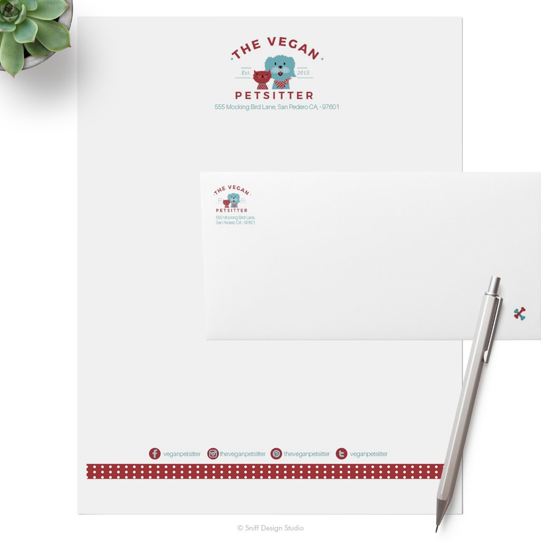 The Vegan Pet Sitter pet business letterhead and envelope design by Sniff Design Studio. All Rights Reserved.