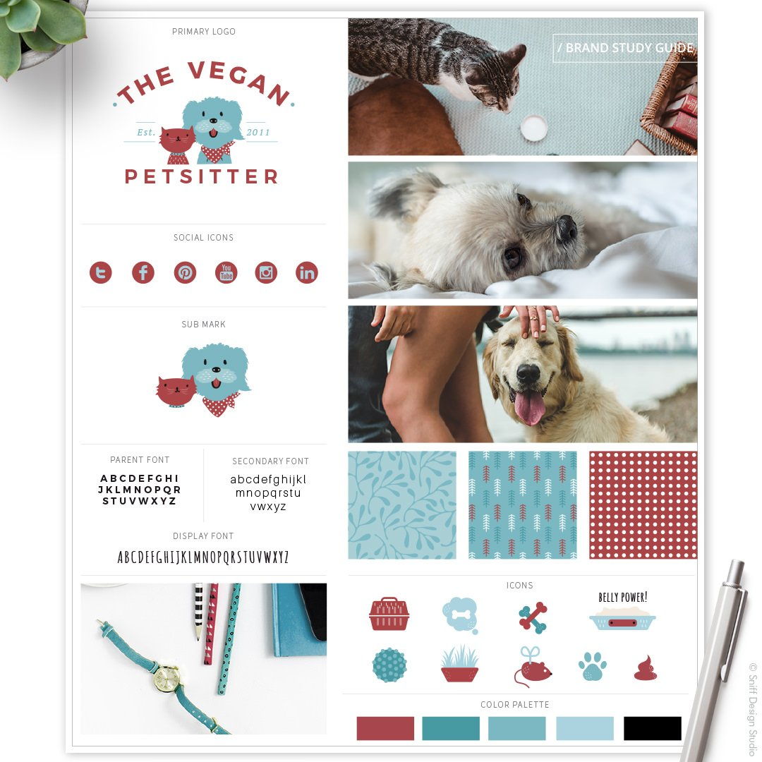 The Vegan Pet Sitter Brand Study Guide by Sniff Design Studio
