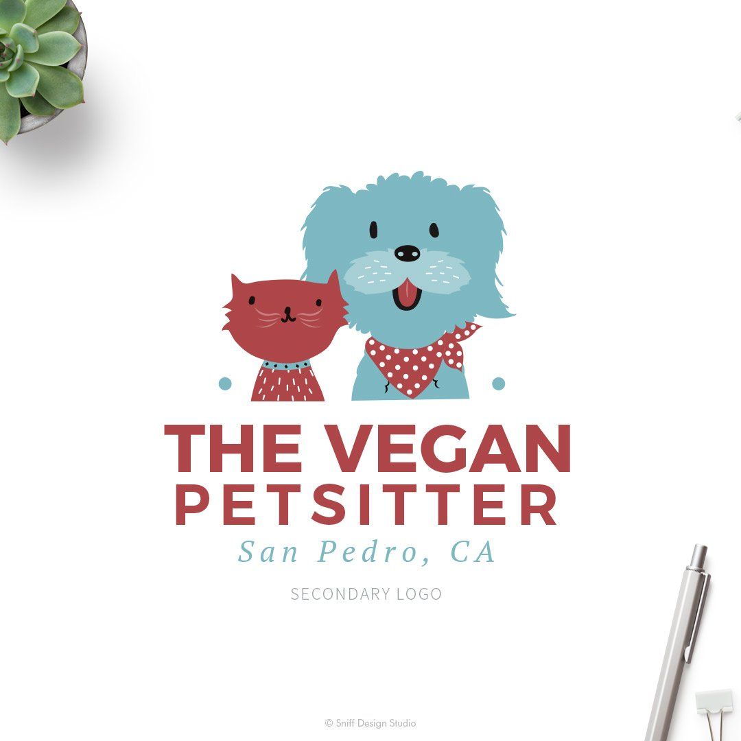 The Vegan Pet Sitter Secondary Logo Design by Sniff Design Studio